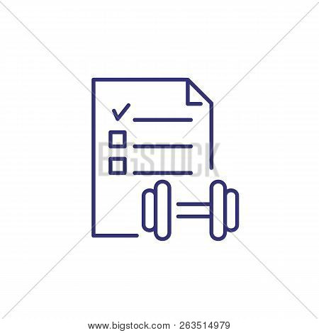 Fitness Plan Line Icon. Healthy Lifestyle, Trainings, Activity. Fitness Concept. Vector Illustration