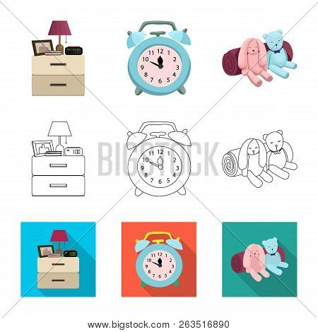 Vector Design Of Dreams And Night Symbol. Collection Of Dreams And Bedroom Stock Symbol For Web.