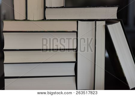 Many Books Piled Up In Rectangles - Same Size