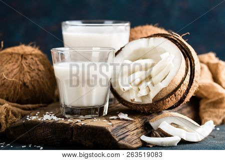 Fresh Coconut Milk In Glass, Vegan Non Dairy Healthy Drink