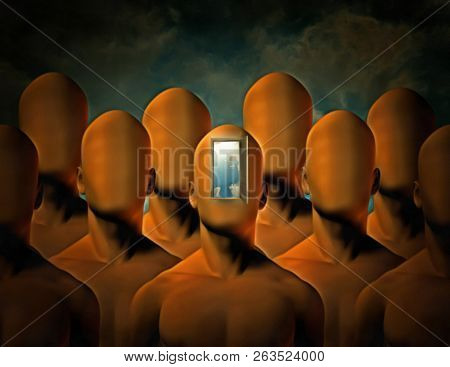 Surreal painting. Faceless men. One of them with open door instead of face. Door symbolizes pathway to another world. 3D rendering