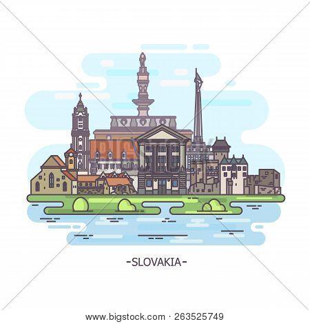 Slovak Landmarks Or Slovakia Historical Monuments, Travel Theme