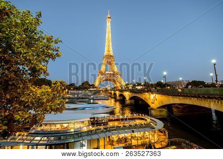 Paris, France - August 31, 2018: Night Landscape View On The Eiffel Tower With Light Performance Sho