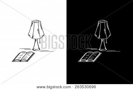 Sketch Of The Lamp And Open Book