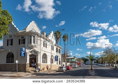 Wellington, South Africa, August 8, 2018: A Street Scene, With Businesses, People And Vehicles, In W