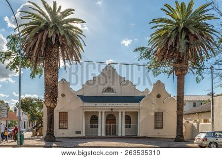 Wellington, South Africa, August 8, 2018: A Street Scene, With The Dutch Reformed Church Hall, Peopl