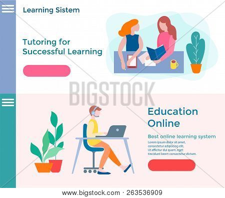 Banners Of Concept Online Education, Educational Courses And Tutoring. Successful Learning. Best Onl