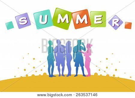 Colourful Casual People Silhouette, Group Of Diversity Relax Summer Human, Successfull Team Concept,