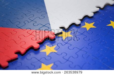 Flag Of The Czech Republic And The European Union In The Form Of Puzzle Pieces In Concept Of Politic