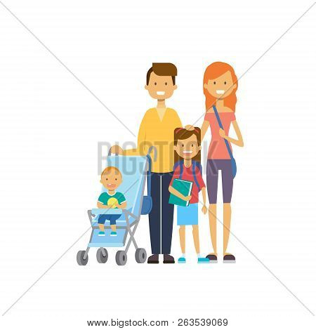 Father Mother Daughter Baby Son In Stroller Full Length Avatar On White Background, Successful Famil