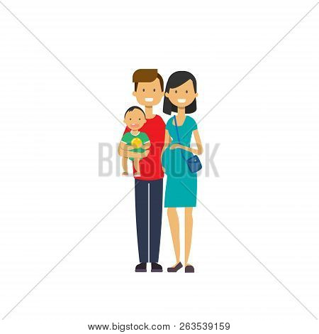 Pregnant Mother Father Hold Baby Son Full Length Avatar On White Background, Successful Family Conce