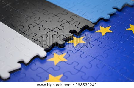 Flag Of The Estonia And The European Union In The Form Of Puzzle Pieces In Concept Of Politics And E