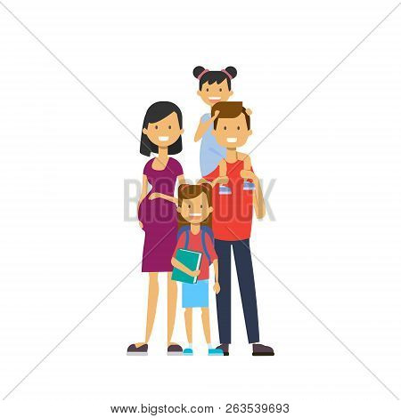Pregnant Mother Father Hold Baby Daughter Full Length Avatar On White Background, Successful Family