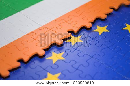 Flag Of The Ireland And The European Union In The Form Of Puzzle Pieces In Concept Of Politics And E