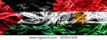 Palestine Vs Kurdistan, Kurdish Smoke Flags Placed Side By Side. Thick Colored Silky Smoke Flags Of