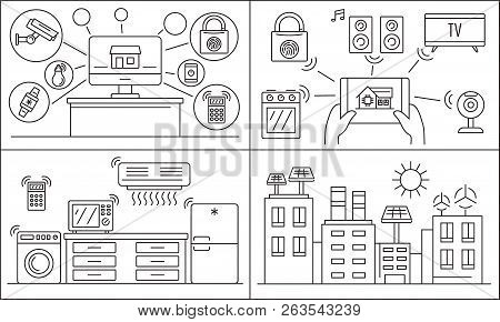 Intelligent House Building Banner Set. Outline Set Of Intelligent House Building Vector Banner For W