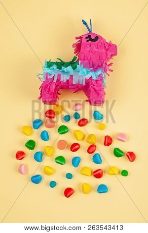 Pinata Traditional Mexican Paper Party Piece. Filled With Candies For Celebrating Anniversaries And