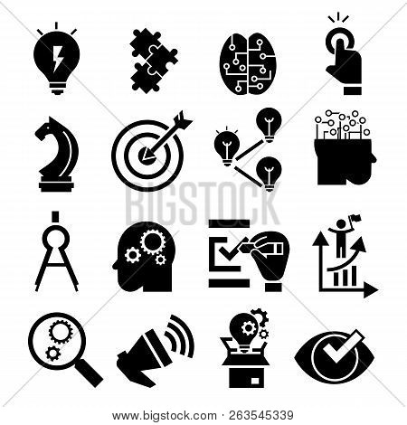 Solution Icon Set. Simple Set Of Solution Vector Icons For Web Design On White Background
