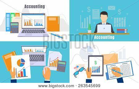 International Accounting Day Banner Set. Flat Illustration Of International Accounting Day Vector Ba