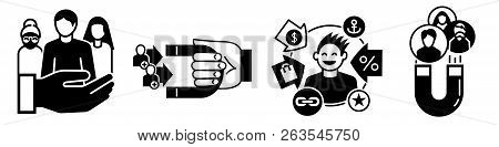Client Retention Icon Set. Simple Set Of Client Retention Vector Icons For Web Design On White Backg