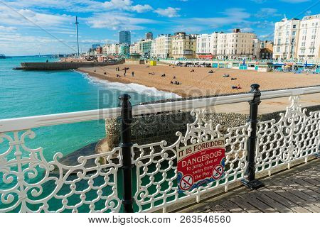 Beautiful View Of Brighton Pier With Brighton Beach Sea, Sand And British Airways I360 In The Backgr