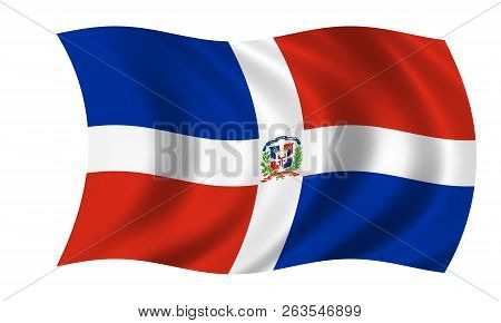 Waving Dominican Republic Flag In The Colors Blue,red And White