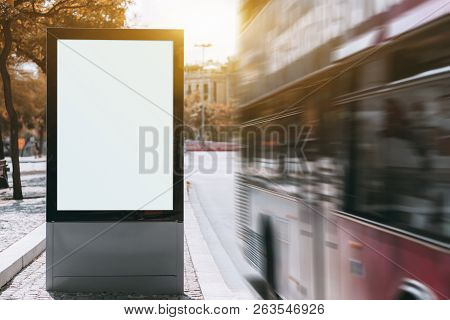 A Tourist Double-decker Is Passing By At A High Speed Near Empty Urban Billboard Mockup; Two-decker