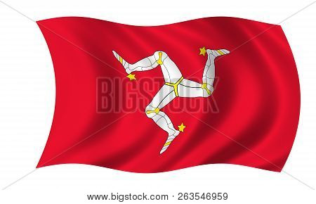 Waving Isle Of Man Flag In The Colors Red And White