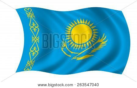 Waving Kazakhstan Flag In The Colors Blue And Yellow