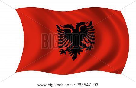 Waving Albanian Flag In The Colors Red And Black