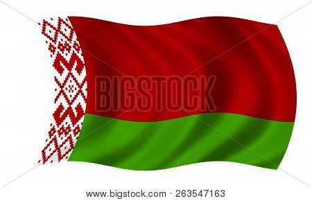 Waving Belarus Flag In Red And Green