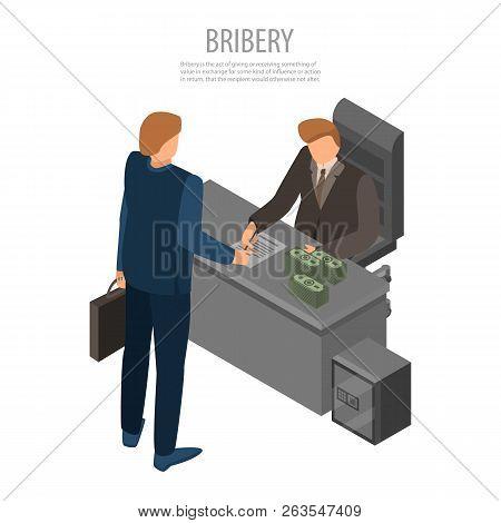 Boss Bribery Concept Background. Isometric Illustration Of Boss Bribery Vector Concept Background Fo