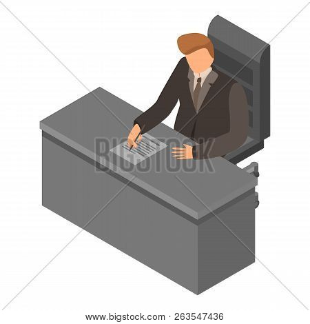 Boss At Workplace Icon. Isometric Of Boss At Workplace Vector Icon For Web Design Isolated On White