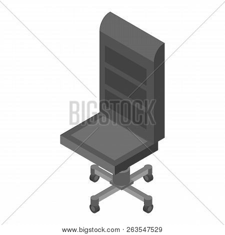Leather Office Chair Icon. Isometric Of Leather Office Chair Vector Icon For Web Design Isolated On