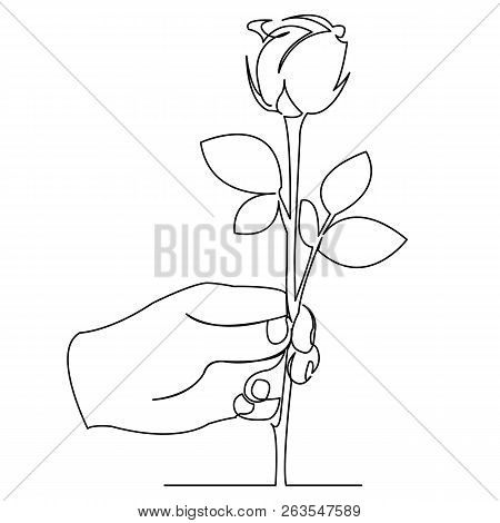 Continuous Single Drawn One Line Hand With Rose Hand-drawn Picture Silhouette. Line Art. Doodle.