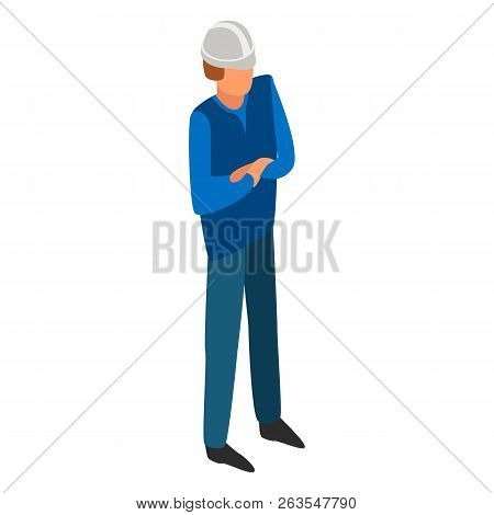 Man Boss Construction Icon. Isometric Of Man Boss Construction Vector Icon For Web Design Isolated O