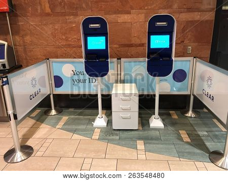 Phoenix,Az/USA - 10.15.18: Airport security and priority clearance,  Biometric system for Clear is seen inside Terminal 4 of Phoenix SkyHarbor Airport.