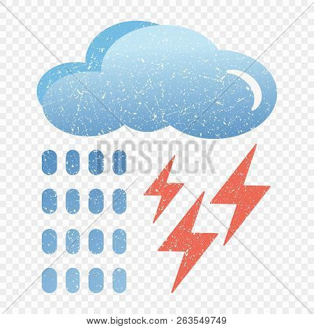 Grunge Blue Cloud Icon With Lightning And Rain. Cartoon Illustration Of Blue Cloud With Lightning An
