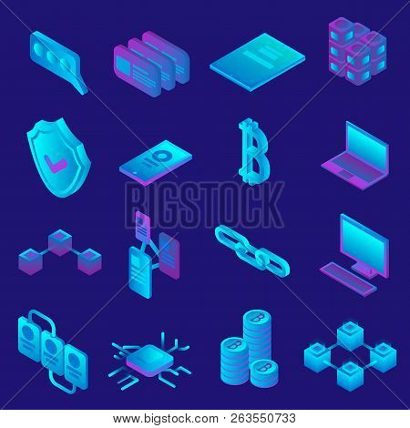 Blockchain Icon Set. Isometric Set Of Blockchain Vector Icons For Web Design