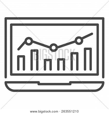 Laptop Finance Chart Icon. Outline Laptop Finance Chart Vector Icon For Web Design Isolated On White