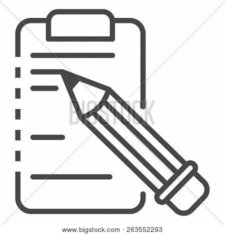 Write Pencil On Clipboard Icon. Outline Write Pencil On Clipboard Vector Icon For Web Design Isolate