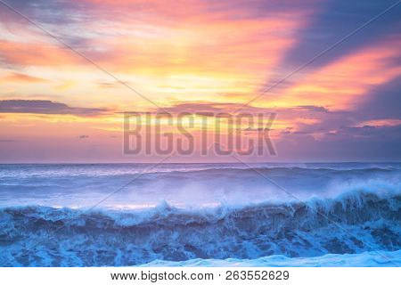 Beautiful Sea Landscape With A Sunset. Evening Sky With Clouds Over Ocean. Sea Surf With Waves