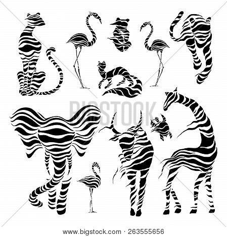 Wild Animals. Stylized Wild Animals. Tiger, Bison Bull Flamingo