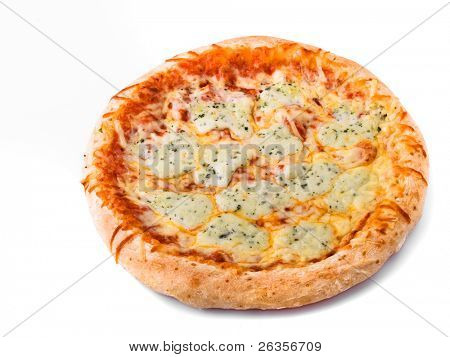 sliced margerita pizza isolated on