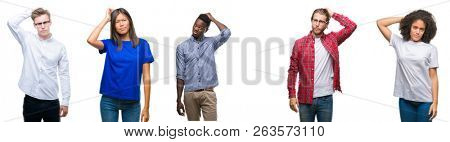 Collage of group of young asian, caucasian, african american people over isolated background confuse and wonder about question. Uncertain with doubt, thinking with hand on head. Pensive concept.