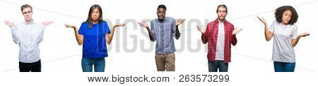 Collage of group of young asian, caucasian, african american people over isolated background clueless and confused expression with arms and hands raised. Doubt concept.