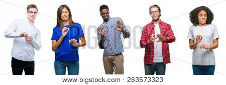 Collage of group of young asian, caucasian, african american people over isolated background disgusted expression, displeased and fearful doing disgust face because aversion reaction. With hands