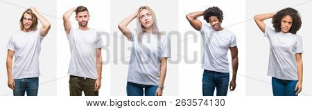 Collage of group of young people wearing white t-shirt over isolated background confuse and wonder about question. Uncertain with doubt, thinking with hand on head. Pensive concept.