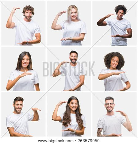 Collage of group of people wearing casual white t-shirt over isolated background gesturing with hands showing big and large size sign, measure symbol. Smiling looking at the camera. Measuring concept.