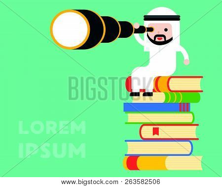 Cute Arab Businessman Sitting On Stack Of Book And Use Monocular, Business Situation Wisdom And Visi